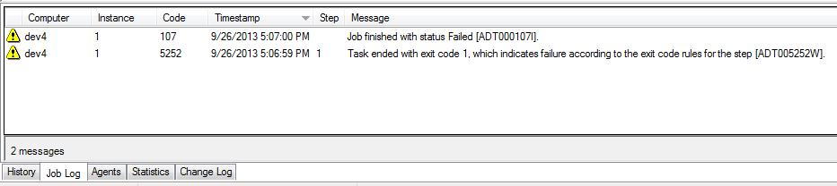 Sample failure message